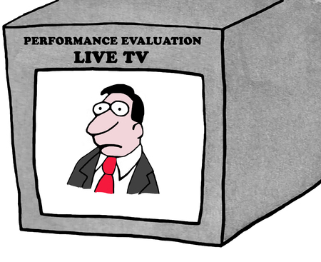 whose: Business illustration of worried employee whose performance review is being televised.