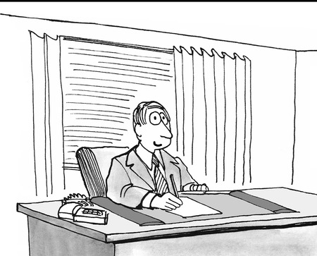Black and white illustration of man sitting at his desk.