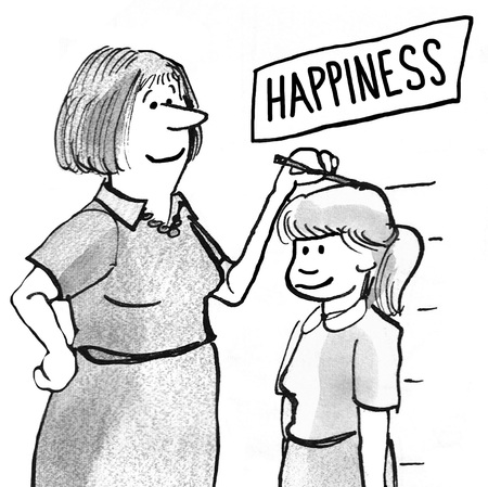 maturity: Black and white illustration of mother measuring height of daughter happiness.