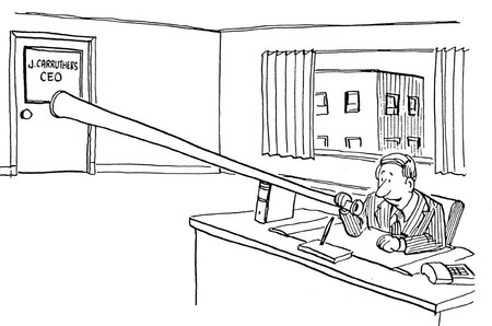 Black and white business illustration of man listening in on CEOs conversation.