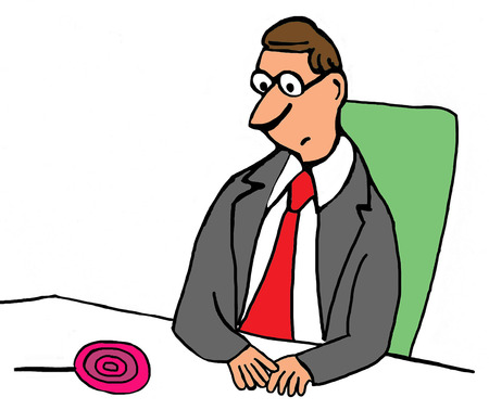 important: Color illustration of businessman looking at a lollipop
