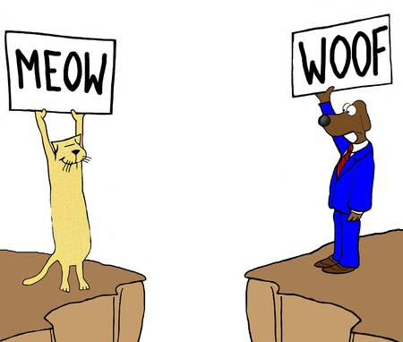 misunderstanding: Color illustration of two different communication languages, meow and woof. Stock Photo