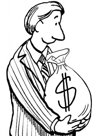 man holding money: Black and white business illustration of man holding a bag of money.