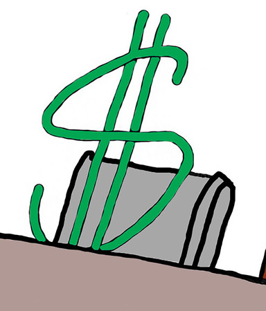 concentrate: Color business illustration of a dollar sign participating in a meeting.