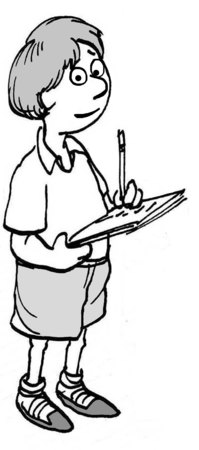 studious: B&W education illustration of young boy taking notes on a paper pad. Stock Photo