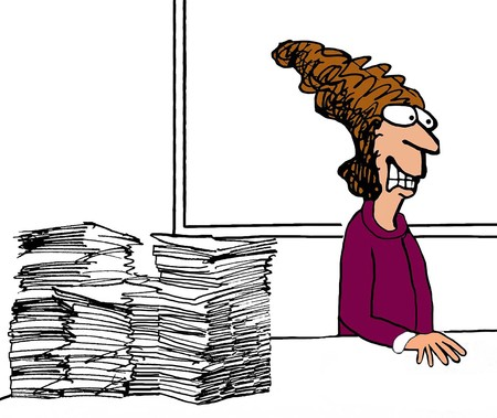 gritting: Business color illustration of businesswoman turning away from the paperwork. Stock Photo