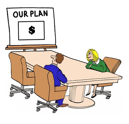 coherent: Business color illustration of two businesspeople looking at a plan that makes money.