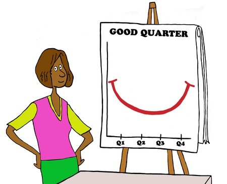 Business color illustration of black businesswoman standing beside good quarter flip chart.