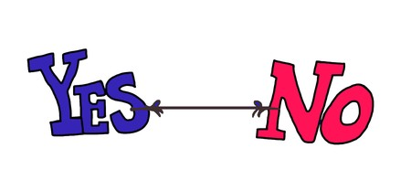 yes no: Color illustration of yes and no tied together and pulling in different directions. Stock Photo