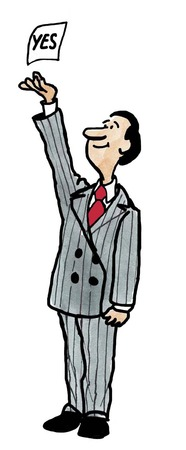 Color business illustration of businessman reaching for yes.