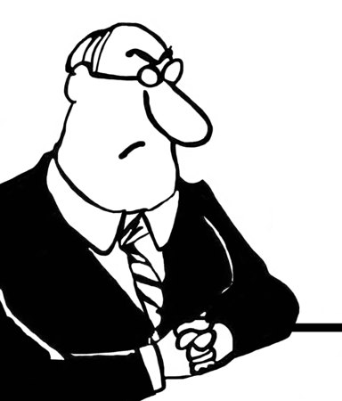 intimidate: Black and white business illustration of scowling executive.