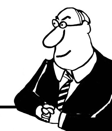 Black and white business illustration of smiling executive Stock Photo