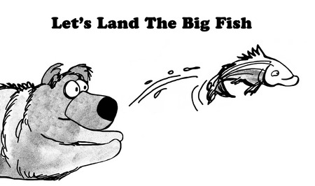 try: Black and white illustration of a bear trying to catch a fish