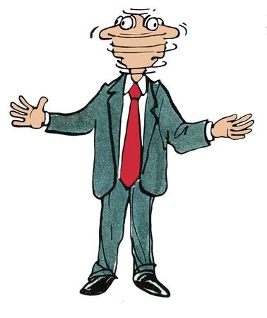 Ilustración de negocio del color del hombre girando la cabeza rápidamente de izquierda a derecha a izquierda