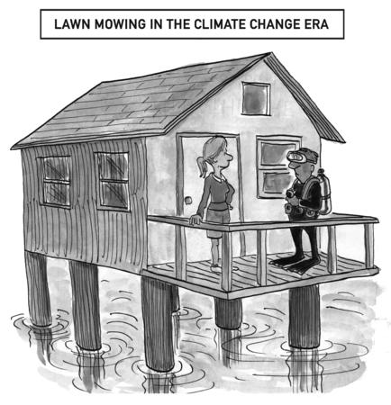 stilts: Lawn mowing in climate change era