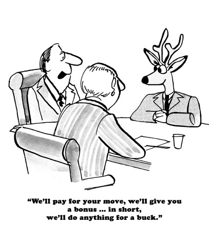 Business cartoon about a job offer. Zdjęcie Seryjne