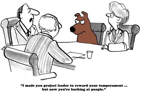 Business cartoon about a barking boss. Stock Photo