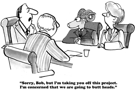 mad: Black and white business cartoon about taking a worker off a project, they may butt heads. Stock Photo