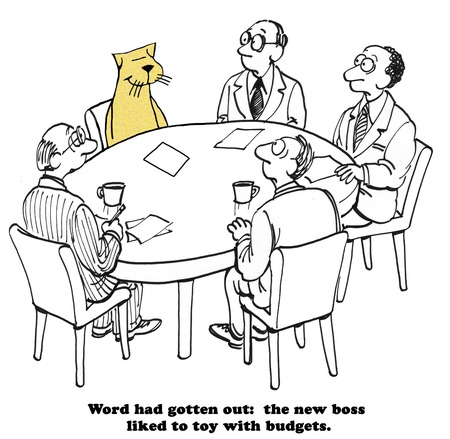 quarterly: Business cartoon about a boss that toys with the budgets.