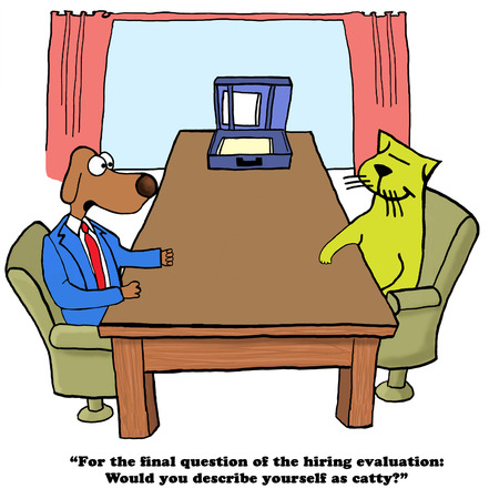 Color business cartoon about a hiring evaluation test.