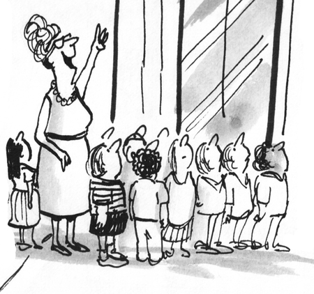 Black and white education illustration of children on a field trip to the big city.