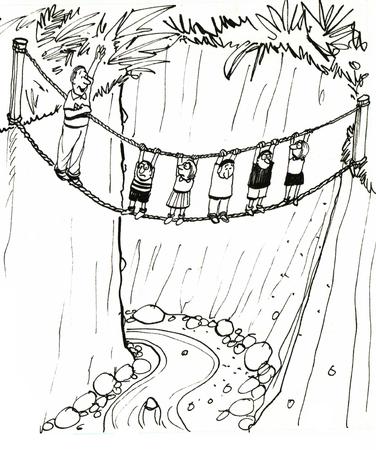 dangerous man: Black and white education illustration of children on a dangerous field trip.