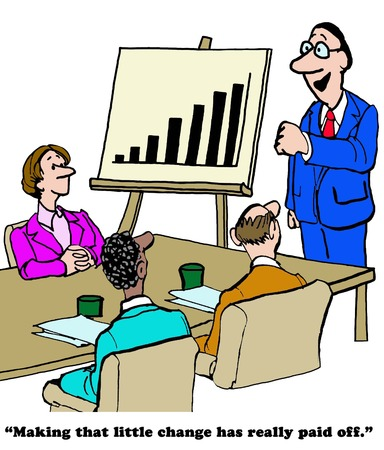 sales executive: Color business cartoon about making a change that really paid off with excellent sales results.