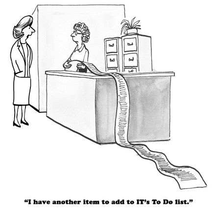 it business: Business cartoon about the very, very long to do list for the IT department. Stock Photo