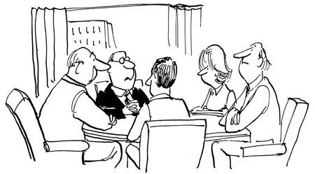 会議のビジネスマンの黒と白のイラスト。