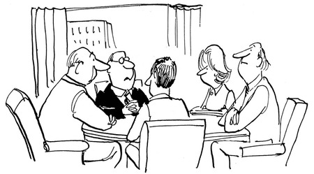 Black and white illustration of businesspeople in a meeting.