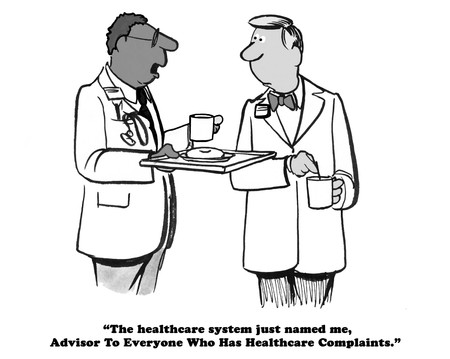 Black and white medical cartoon about healthcare insurance customer dissatisfaction.