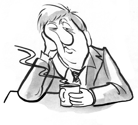 Black and white illustration of exhausted businessman drinking coffee. Stock Photo