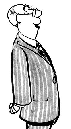 baby boomer: Black and white illustration of smiling baby boomer businessman.