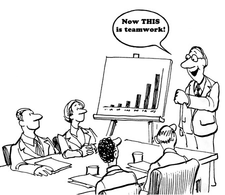 Black and white business illustration of successful sales, now this is teamwork.