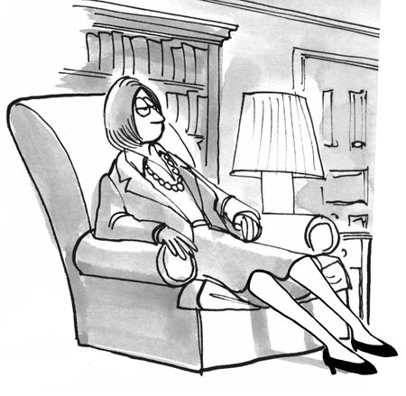 slumped: Black and white illustration of a tired businesswoman slumped in her living room chair. Stock Photo