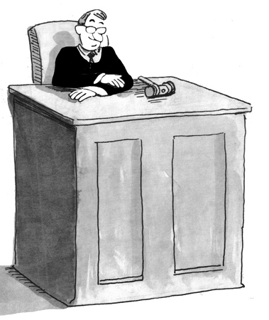 courtroom: Black and white illustration of male judge in courtroom.