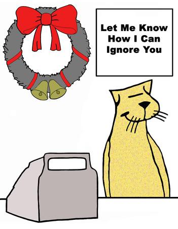 Christmas illustration of a customer service cat providing poor customer service.
