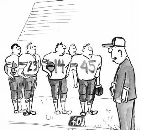 jugadores de futbol: Ejemplo blanco y negro de los jugadores de fútbol mirando a su entrenador.