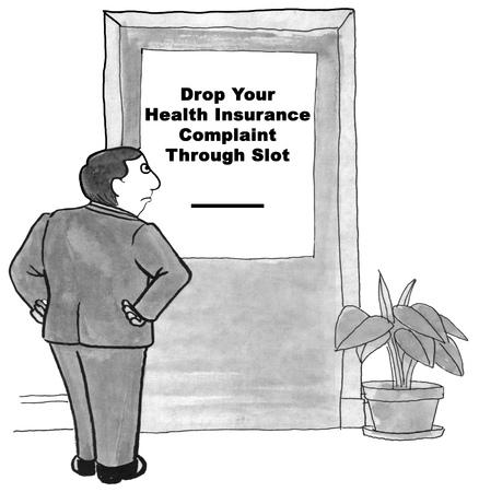heath: Black and white illustration about lack of heath insurance company customer service. Stock Photo