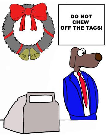 gift season: Color illustration of customer service dog at retail store.