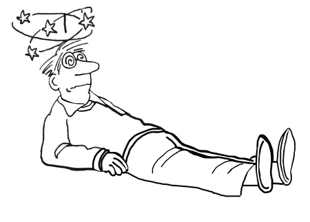 concussion: Black and white illustration of a man who has fallen and is dizzy.