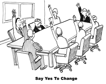 agreeing: Black and white business cartoon about agreeing or disagreeing to change. Stock Photo