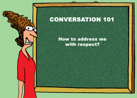 insulting: Color illustration about treating people with respect.