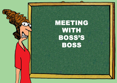 Color business illustration about a stressed businesswoman meeting with the bosss boss.