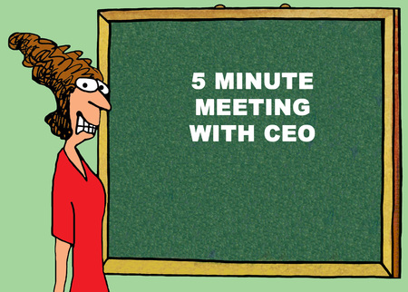 ceo: Color business illustration about a stressed businesswoman about to meet with the CEO. Stock Photo