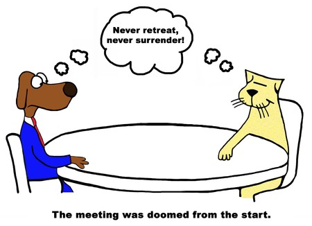 lacking: Color business cartoon about a doomed meeting. Stock Photo