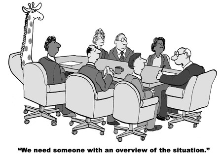 oblivious: Black and white cartoon about a situation overview.