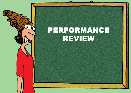 business performance: Color business illustration about a stressed businesswoman before a performance review.