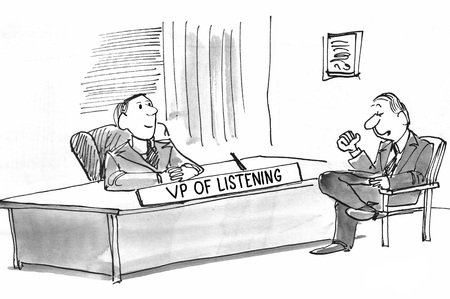 listening: Black and white business illustration of businessman confiding in the VP of Listening.