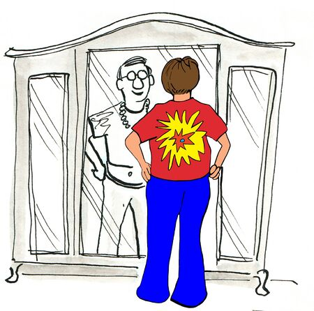 Color illustration of a baby boomer man trying on his old hippie clothes.